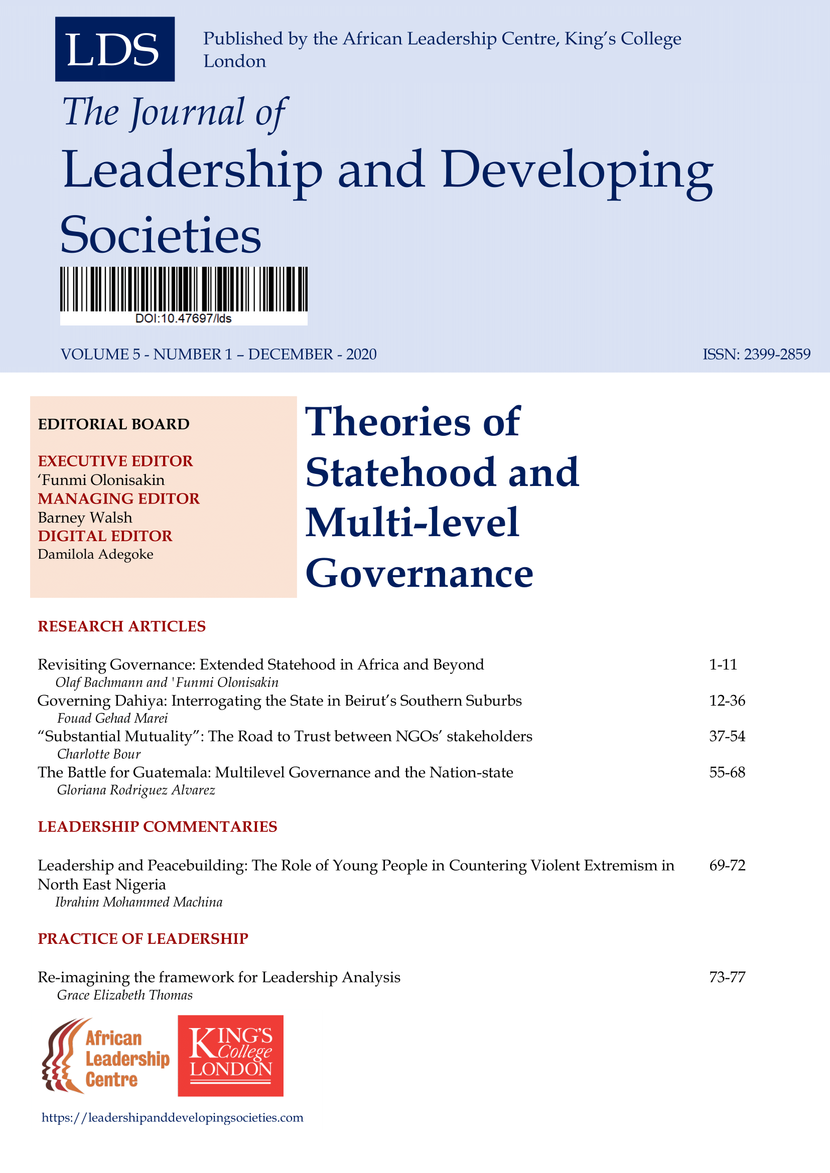 View Vol. 5 No. 1 (2020): Theories of Statehood and Multi-level Governance