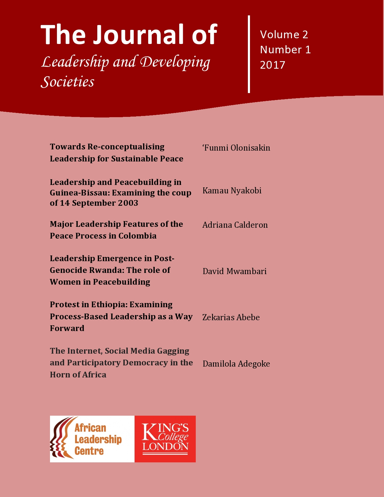 The Journal of Leadership and Developing Societies Volume 2, Number 1 2017